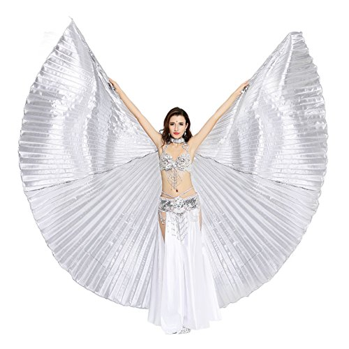 Dance Fairy Exotic Belly Dance Big Isis Wings With Rods,Silver