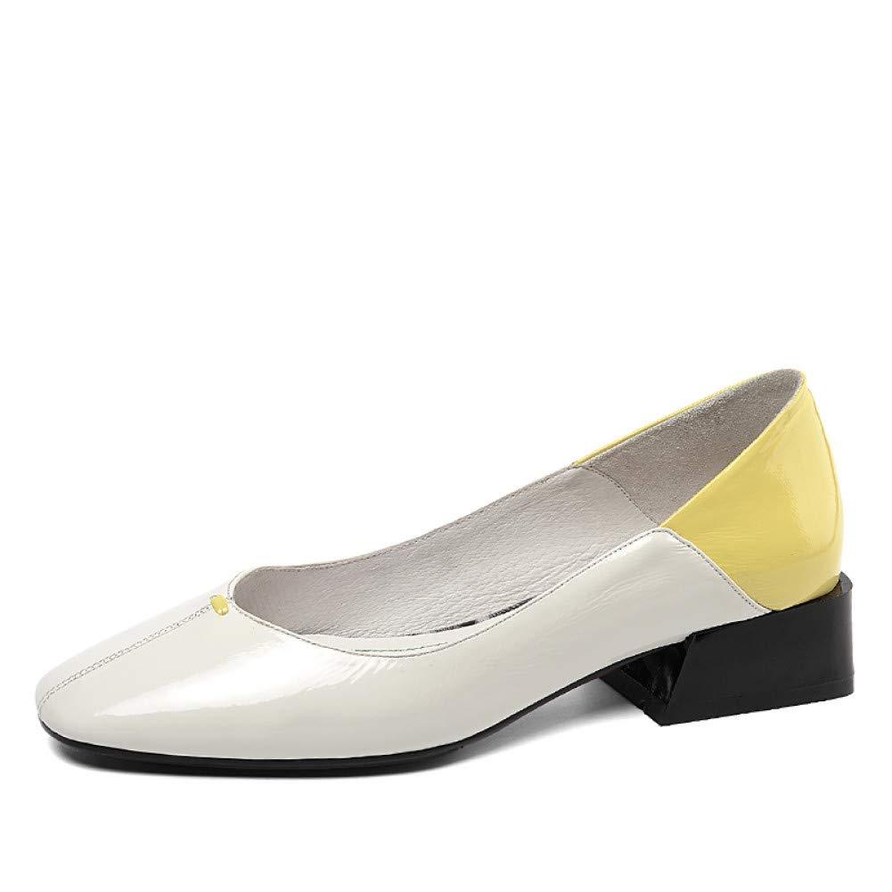 PINGXIANNV Low Heels Damen Damen Damen Pumps Square Toe Schuhe Flache Schuhe Weibliche Lackleder Freizeitschuhe Frau Frühling Schwarz B07PMVYTSX Tanzschuhe Elegantes Aussehen 4b5b3e