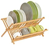 mDesign Bamboo Kitchen Countertop, Sink Dish Drying Rack � Extra Large Capacity, 2 Tiers - Foldable and Collapsible, 100% Bamboo Wood, Natural Light Wood