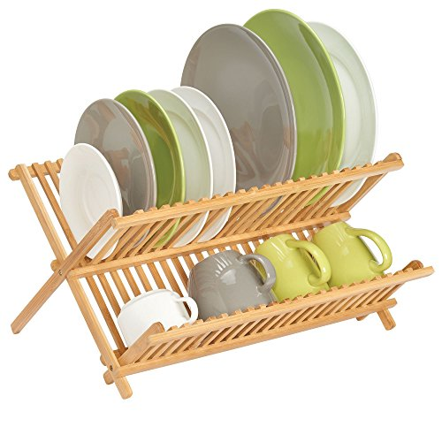 mDesign Bamboo Kitchen Countertop, Sink Dish Drying Rack –