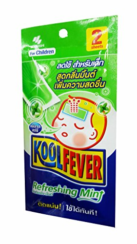 kool fever, 3 Packs of Koolfever Refreshing Mint, Reduce fever Cooling Gel Pads for children. Size of 50 mm x 110 mm/ sheet. (2 Sheets/ 1 pack)