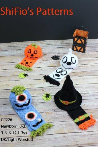 Crochet Pattern - CP226 - Baby Child Halloween Beanie - Newborn, 0-3, 3-6, 6-12,1-3ys - USA Terminology