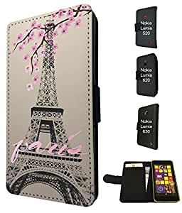 300 - Shabby Chic Floral Paris Eiffel Tower Design Fashion Trend TPU Leather Flip Case For Nokia Lumia 520 Full Case Flip Credit Card TPU Leather Purse Pouch Defender Stand Cover