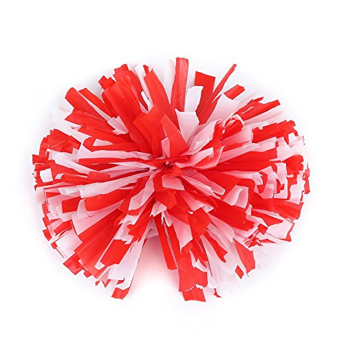 Pparty Cheerleading Ring Pom Poms, 1pair, Red+White, Round (Cheers And Beers Costume)