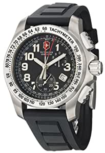 Victorinox Swiss Army - Reloj de hombre cronógrafo negro con correa de acero (Cronógrafo, cristal zafiro)
