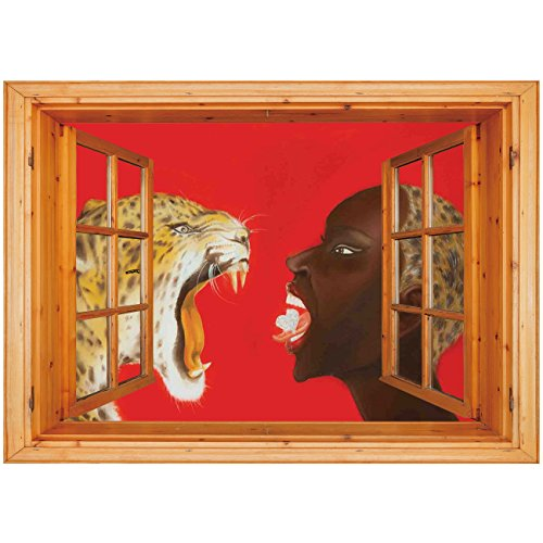3D Depth Illusion Vinyl Wall Decal Sticker [ Country Decor,Modern Painting of an Young African Woman and Tiger Wild Strong Free Lady Art Work,Red Orange Brown ] Window Frame Style Home Decor Art Remov