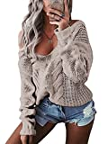 Simplee Plus Women'S Chunky Long Sleeve Knitted Loose Causal Sweater Pullover