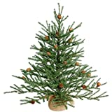 Vickerman Carmel Pine Artificial Christmas Tree with Pine Cones and Burlap Base, 2