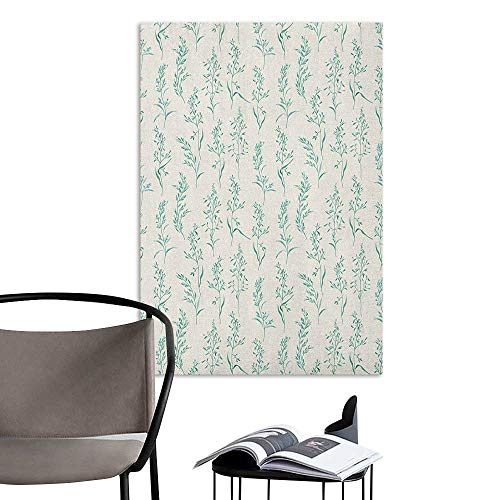 Camerofn Wall Mural Wallpaper Stickers Floral Floral Pattern Moderate Essential Botanical Herbs Flower Plants Fresh Twigs Theme Green Cream Restaurant Wall W8 x H10