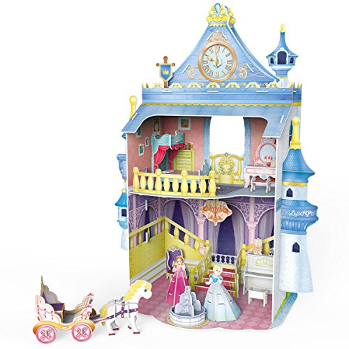 CubicFun Dollhouse 3D Puzzle DIY Kit Toys with Furniture,Fairytale Castle