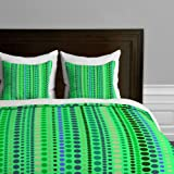 DENY Designs  Romi Vega Retro Green Duvet Cover, Twin/Twin XL