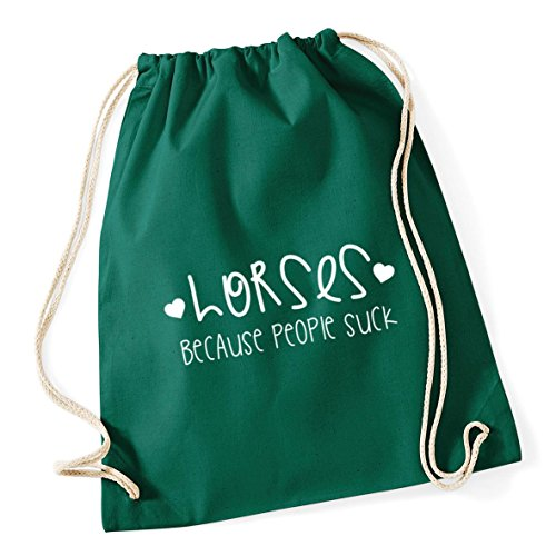 Gym Bottle Suck Because HippoWarehouse Sack Drawstring 12 School Green litres x 46cm Kid 37cm Bag Horses Cotton People nqaww5p0Ft