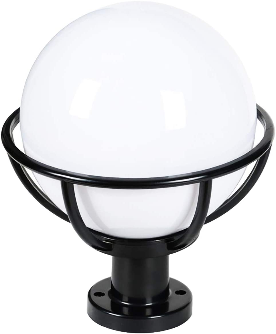 BERLATO Outdoor Post Light Fixture, Outdoor Pillar Light with Black Finish, Spherical Exterior Post Lantern LED Street Light, PC Housing Plus Acrylic Shade 11.81 W x 17.71 H