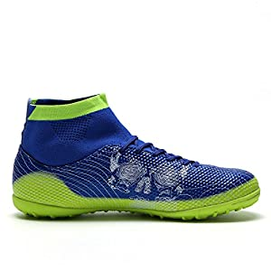 OUYAJI TF Athletic Soccer Cleats Football Boots Indoor Outdoor Shoes Birthday Gifts Men Women Kids blue 35