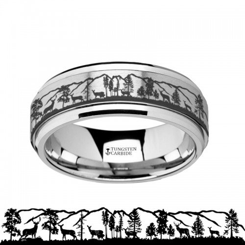 - Spinning Engraved Roaming Deer Stag Tungsten Carbide Spinner Wedding Band - 8mm