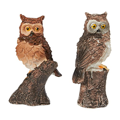 Juvale Owl Figurines - Pack of 2 Mini Owl Resin Figurines, Fairy Garden Accessories, Owl DecorOrnaments Perfect for Children, Indoor and Outdoor Decor, Multicolor, 3 x 1.25 x 1 -