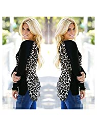 Womens Long Sleeve Leopard Print Shirt Casual Loose Leopard Tops Blouse Pullover