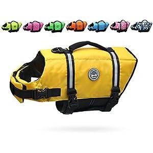 Vivaglory Dog Life Jacket Size Adjustable Dog Lifesaver Safety Reflective Vest Pet Life Preserver, Yellow, Extra Small