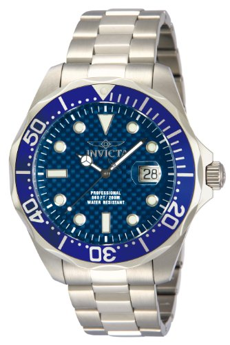 Invicta Men's Pro Diver Stainless Steel Blue Carbon Fiber Dial Watch