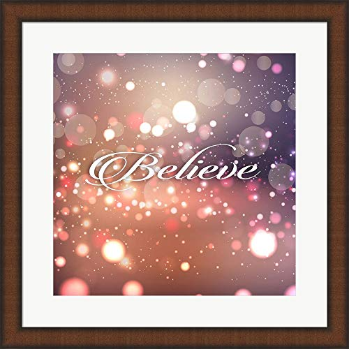 - Believe by Tamara Robinson Framed Art Print Wall Picture, Teak Brown Frame, 20 x 20 inches