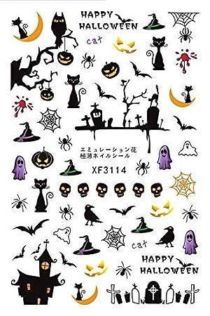 ZHRUI Halloween Horror Design 3D Nail Art Stickers Adhesivo de manicura calcomanías de Transferencia (Color : 1-E): Amazon.es: Hogar