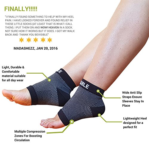 BeVisible Sports Plantar Fasciitis Socks - High Performance Compression Foot Sleeves With Arch Support For Men and Women - Helps Boost Circulation, Reduces Swellings For Foot and Heel Pain Relief by BeVisible Sports (Image #2)