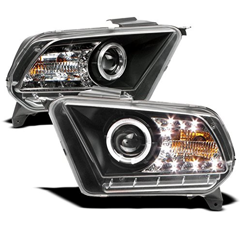 ZMAUTOPARTS Ford Mustang Base/GT Halo DRL LED Projector Headlights Black Left+Right (2010 Mustang Gt)