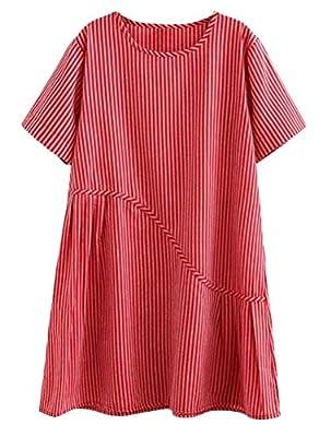 Minibee Women's Summer A-line Casual Stripe Loose Patchwork Mid Dress