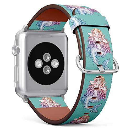 (Mermaid Illustration in Turquoise Background) Patterned Leather Wristband Strap for Apple Watch Series 4/3/2/1 gen,Replacement for iWatch 38mm / 40mm Bands