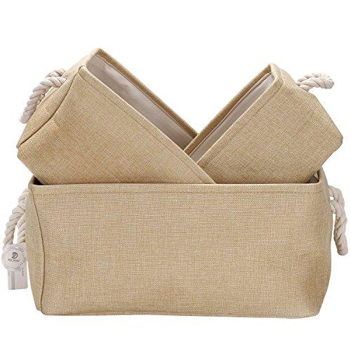 Sea Team Foldable Multi-sized Square New Beige 100% Natural Linen & Cotton Fabric Storage Bins Storage Baskets Organizers - Set of 3
