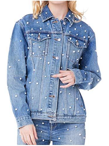 LifeShe Women's Boyfriend Embroidered Rivet Pearl Loose Denim Jean Jacket Coat (Blue, L)
