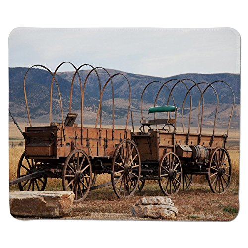 Mouse Pad Unique Custom Printed Mousepad [ Barn Wood Wagon Wheel,Vintage American Carriages Western Historical Transportation Prairie,Brown White ] Stitched Edge Non Slip Rubber (Custom Printed Mouse Pad)