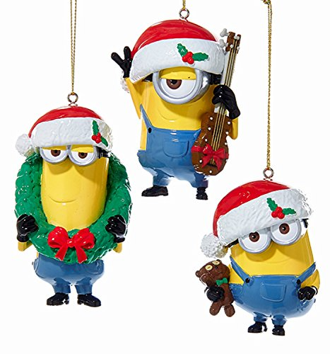 Kurt Adler 1 Set 3 Assorted Despicable Me Minions Bob, Stuart and Kevin Blow Mold -