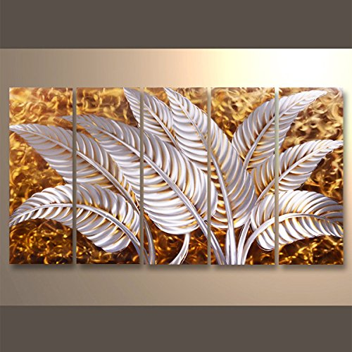 【現代アート工房】 メタルアート 現代絵画 立体感のあるモダンアート ハンドメイド作品 ナチュラルライン 植物C 2FMA-442 30×80cm-5 B01N4OLZCP 植物C 植物C