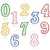 10 Pieces Polka Dot Birthday Candle Number Candle