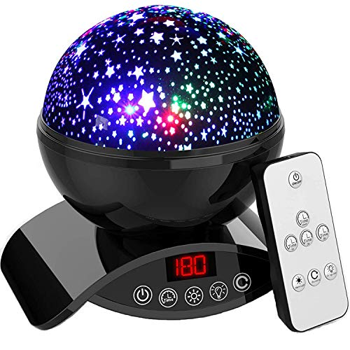 Aisuo Night Lights, Star Projector with Timer Auto Shut Off, 7 Color Rotating Options by Remote Control, Rechargeable Lithium Battery & Dimmable Function, Ideal Gift for Kids, Women, Friends(Black).