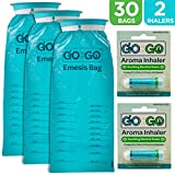 #10: Disposable Emesis Vomit Bags with Aromatherapy Inhalers by Go on the Go - for Morning Sickness and Nausea Relief - 30 Vomit Bags and 2 Inhalers, Great for Medical, Home, Travel, Car, Plane and Boat
