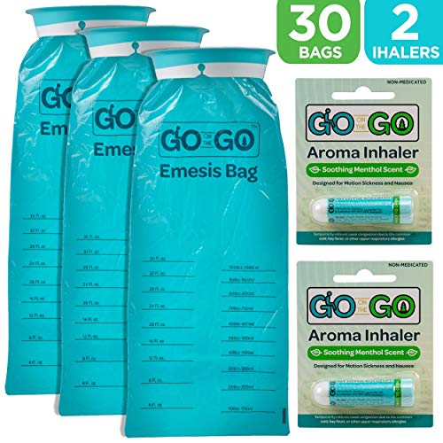 Disposable Emesis Vomit Bags with Aromatherapy Inhalers by Go on the Go - for Morning Sickness and Nausea Relief - 30 Vomit Bags and 2 Inhalers, Great for Medical, Home, Travel, Car, Plane and Boat -