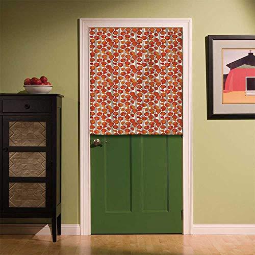 YOLIYANA Floral Privacy Door Curtain,Art Nouveau Style Poppy Flowers Retro Spring Summer Garden Foliage Petals for Kitchen Bathroom Bedroom,33.46''W x 39.37''H
