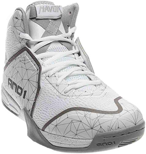 AND1 Mens Havok Basketball Athletic Shoes, Silver;White, 11