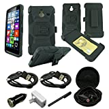 Mstechcorp- Microsoft Lumia 640 XL 5.7-inch AT&T Case, Microsoft Lumia 640 XL Armor Series - Heavy Duty Dual Layer Holster Case Kick Stand with Locking Belt Swivel Clip - Includes [Car Charger] + [Wall Charger] + [Stylus] + [Hands Free Earphone With Carrying Case] + [2 Data Cables] (H BLACK)
