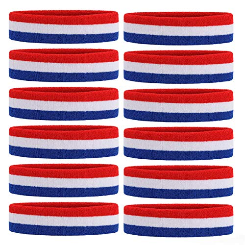OnUpgo 12PCS Headbands Sweat Band for Men & Women - Sports Headband Moisture Wicking Athletic Cotton Terry Cloth Sweatband Sweat Absorbing Head Band (Red/White/Blue) -