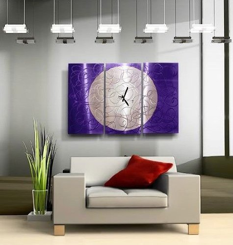 Modern Jewel Tone Fusion Of Purple & Silver Abstract Etched Hand-Painted Metal Wall Clock - Contemporary Home Accent, Home Decor, Three Piece Functional Metal Wall Art - Purple Moon Clock - 38-inch