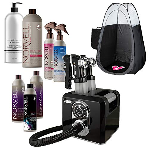 Tanning System Self (Venus Spray Tan Machine and Gun Kit with Norvell Airbrush Tanning Solution Sunless Pro Bundle and Black Pop Up Tent)