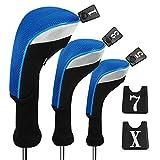 Andux 3pcs/Set Golf 460cc Driver Wood Head Covers Long Neck Interchangeable No. Tags Pack of 3 (Long Neck, Blue, MT/MG23)