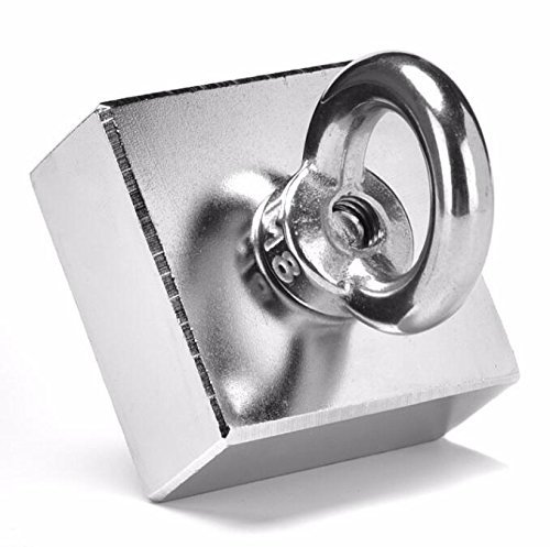AOMAG 600 lbs Strong N52 Large Square Block Neodymium Magnets 2 x 2 x 1 inch Lifting 0.4 inch Countersunk hole With Hook by AOMAG (Image #2)