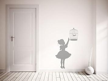 Top Qualité Vintage Petite Fille et Cage à Oiseaux. Premium Art ...