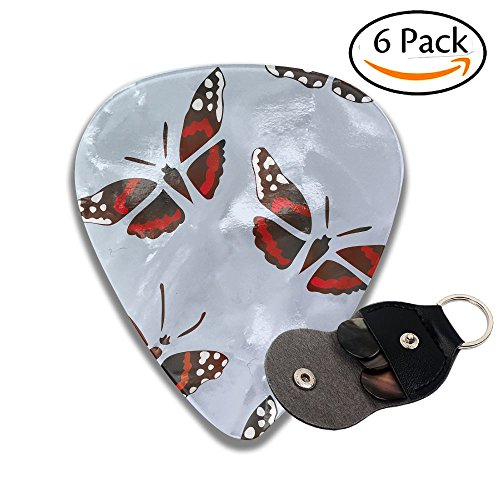 Colby Keats Guitar Picks Plectrums Red Admiral Butterfly Classic Electric Celluloid Acoustic For Bass Mandolin Ukulele 6 Pack 3 Sizes .46mm