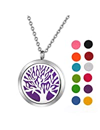 Stainless Steel Aromatherapy Essential Oil Diffuser Necklace Pierced Round Design for Women,Silver Tone