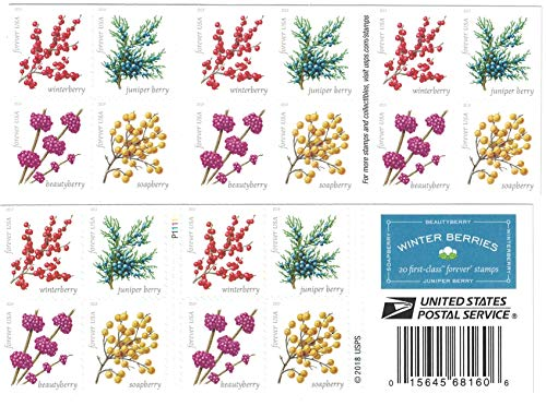 Winter Berries Book of 20 First Class US Postage Stamps Wedding Celebrate Engagement (20 Stamps)